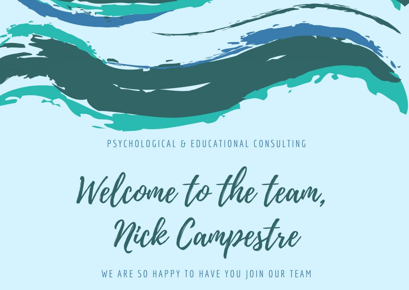 Welcome to our new employee Nick Campestre